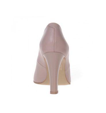 Pantofi office nude inchis piele naturala toc gros