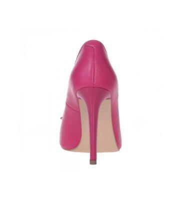 Pantofi piele roz fucsia accesorizati cu inimioara