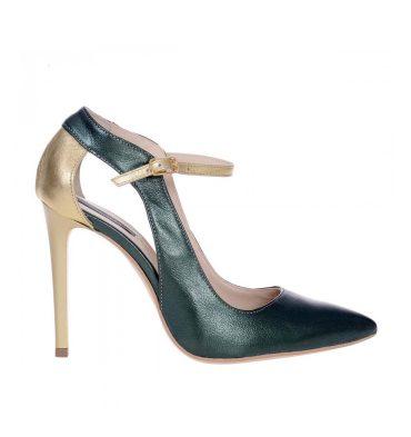pantofi-stiletto-bareta-piele-verde-piele-aurie-1