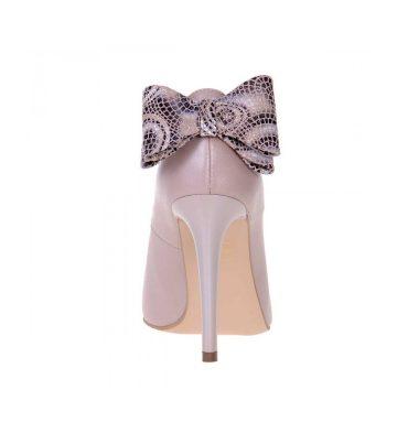 Pantofi stiletto bej sidef piele naturala funda