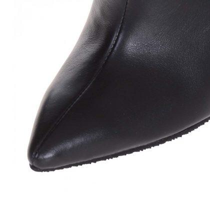 Cizme stiletto fronsate negre piele naturala