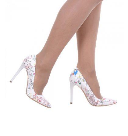 Pantofi dama piele alba imprimeu toc inalt