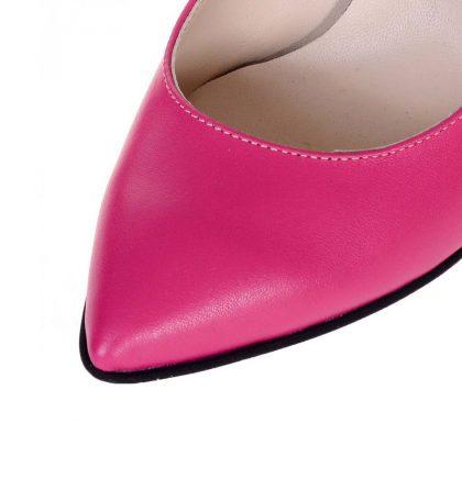 Pantofi piele fucsia toc gros glitter negru