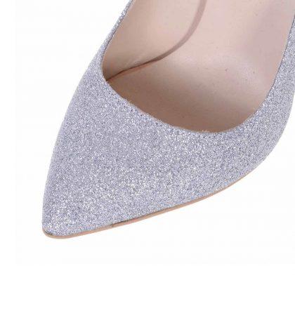 Pantofi stiletto piele glitter argintiu toc inalt