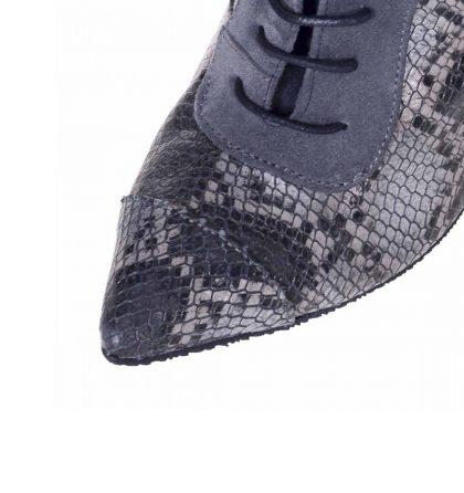 Botine stiletto gri piele print sarpe si piele intoarsa