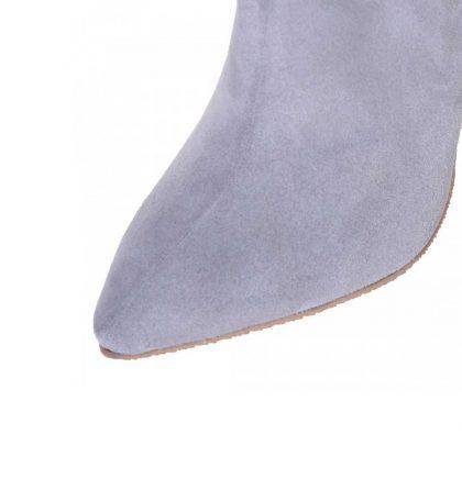 Cizme stiletto gri piele intoarsa