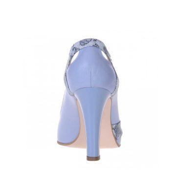 Pantofi bleu office piele naturala toc gros