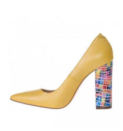 Pantofi galbeni piele toc gros piele multicolora