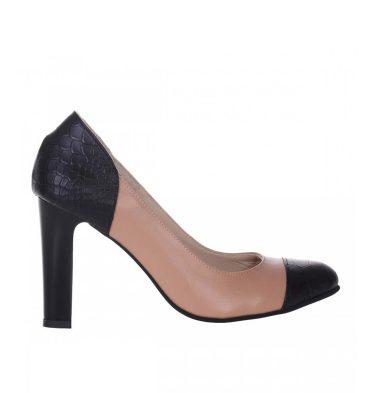 pantofi-office-dama-piele-cappuccino-piele-neagra-print-sarpe-1