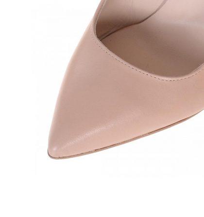 Pantofi piele crem stiletto funda glitter argintiu