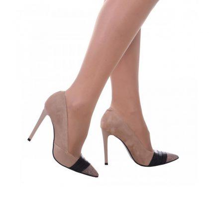 Pantofi stiletto piele intoarsa cappuccino