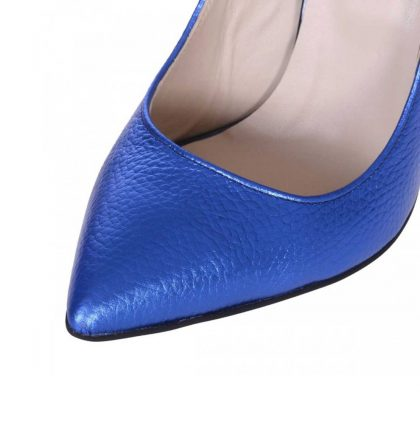Pantofi stiletto albastru metalizat piele naturala