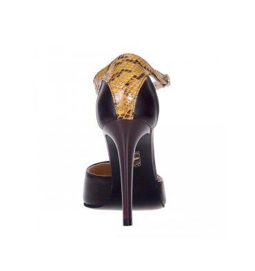 Pantofi stiletto piele maro si piele galbena imprimeu
