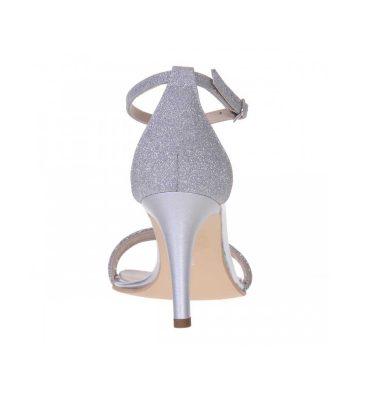 Sandale comode piele argintie si glitter