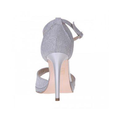 Sandale inalte platforma piele argintie si glitter