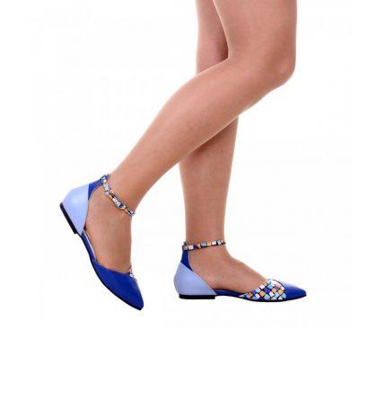 Balerini varf ascutit piele albastru electric piele bleu si piele imprimeu