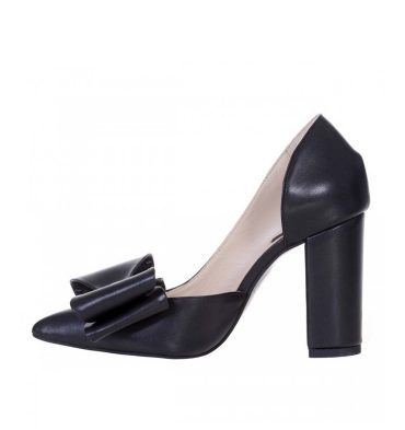 Pantofi negri dama piele naturala toc gros