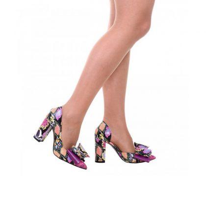 Pantofi stiletto piele imprimeu sarpe colorat toc gros si funda