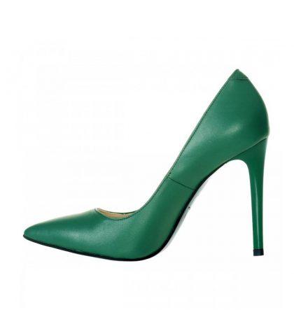 Pantofi stiletto piele naturala verde aprins