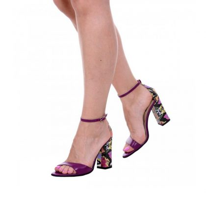 Sandale piele mov si piele imprimeu sarpe toc gros
