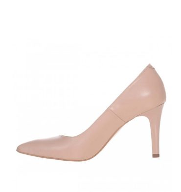 Pantofi crem stiletto toc comod piele naturala