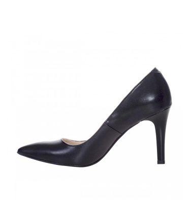 Pantofi negri stiletto toc comod piele naturala