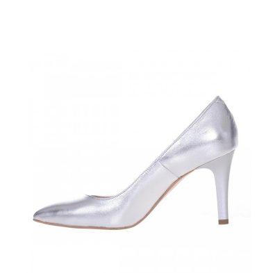 Pantofi stiletto argintii toc comod piele naturala