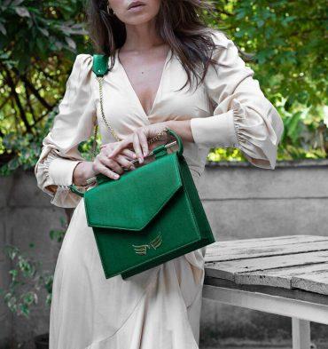 Geanta patrata verde piele naturala