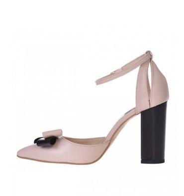 Pantofi dama cu bareta piele nude rose si piele neagra lacuita