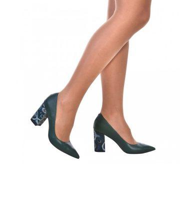 Pantofi dama cu toc gros piele verde si piele imprimeu