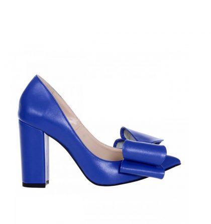 Pantofi dama toc gros piele albastru electric funda