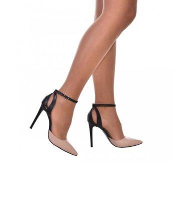 Pantofi stiletto eleganti piele crem si piele neagra