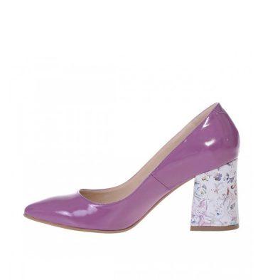 Pantofi toc gros evazat piele lacuita mov lila si piele imprimeu