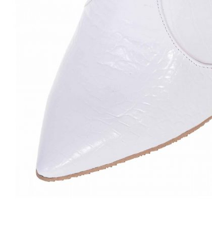 Ciocate albe stiletto piele imprimeu croco