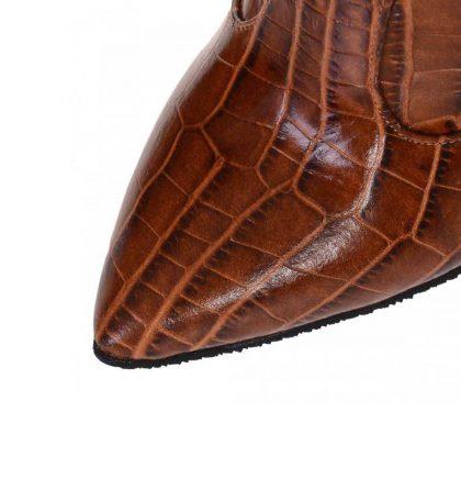 Cizme inalte stiletto din piele maro cu presaj croco