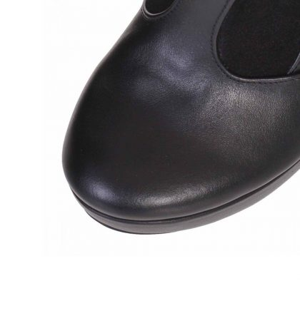 Cizme negre cu toc inalt si platforma din piele naturala