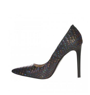 Pantofi stiletto dama din piele cu imprimeu sarpe colorat