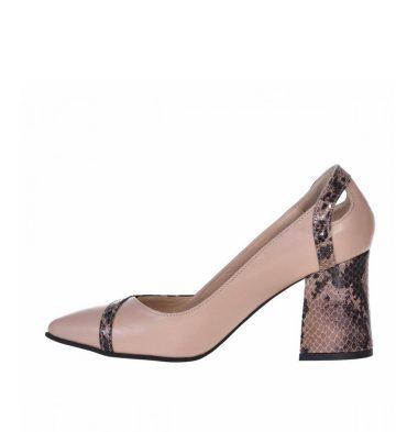 Pantofi dama office toc evazat piele nude inchis