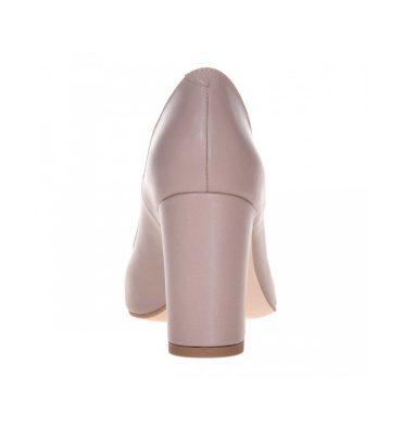 Pantofi comozi bej inchis toc gros piele naturala