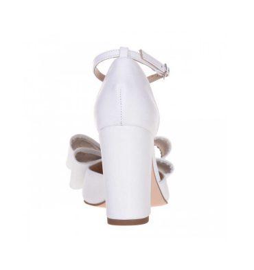 Pantofi mireasa cu funda din piele alba