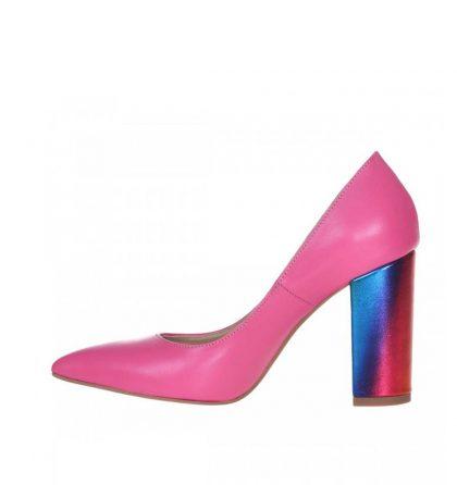 Pantofi piele roz cu toc gros multicolor