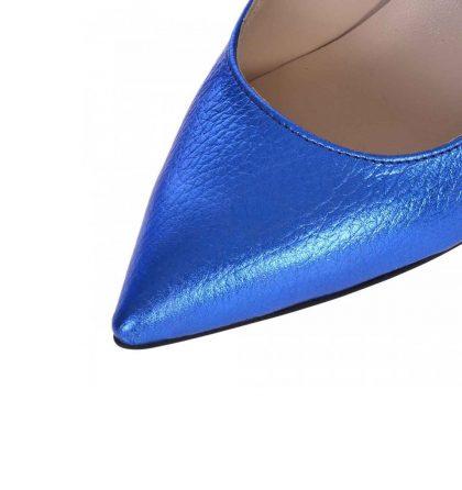 Pantofi stiletto comozi din piele naturala albastru metalizat