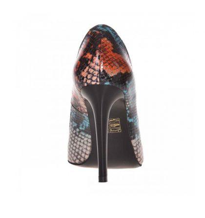 Pantofi stiletto din piele cu imprimeu sarpe colorat