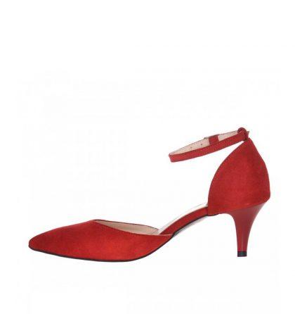 Pantofi stiletto rosii piele intoarsa toc jos