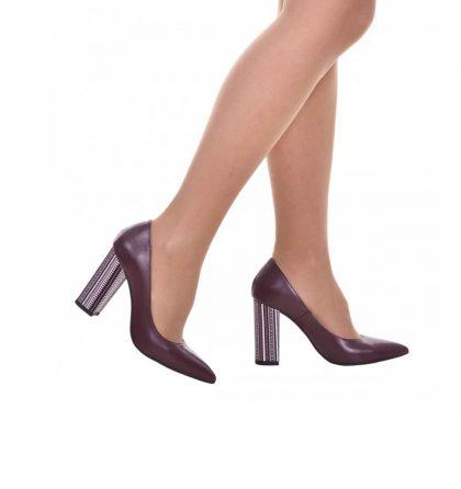 Pantofi toc gros piele bordo si piele imprimeu