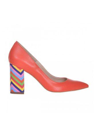 pantofi-toc-gros-piele-portocalie-si-piele-multicolora-1