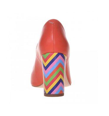 Pantofi toc gros piele portocalie si piele multicolora