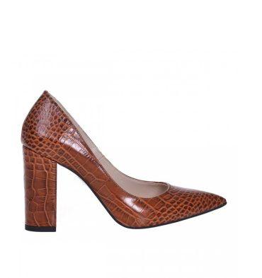 pantofi-toc-gros-piele-presaj-croco-maro-1