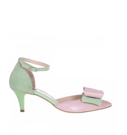 Pantofi toc jos din piele roz pal si piele intoarsa verde menta