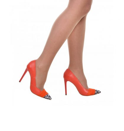 Pantofi stiletto din piele portocalie cu insertii animal print